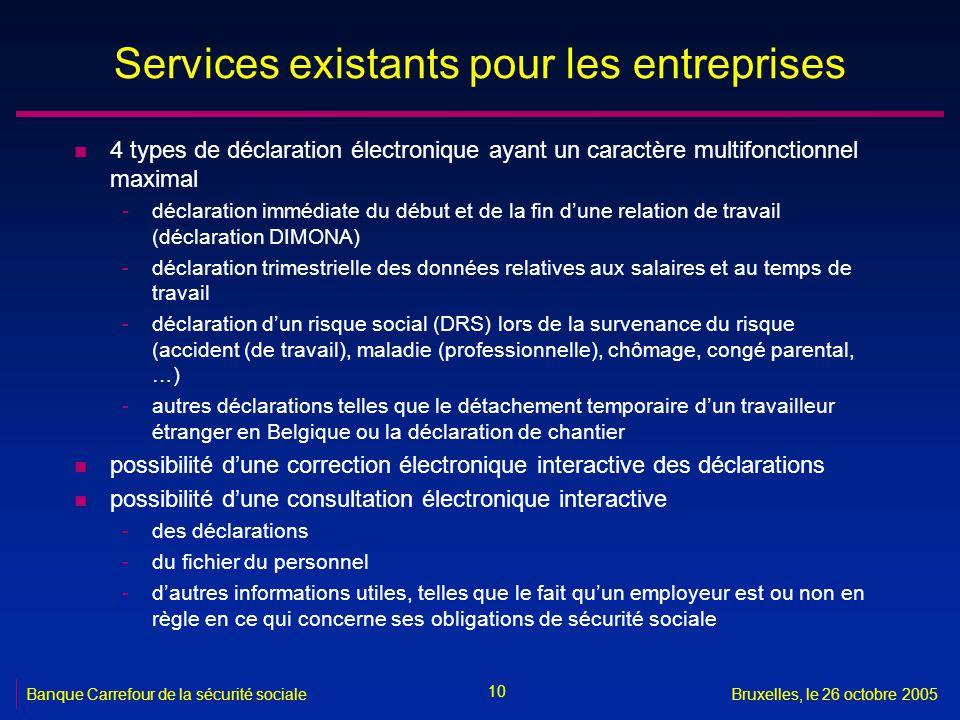 10 Banque Carrefour de la sécurité socialeBruxelles, le 26 octobre 2005 Services existants pour les entreprises n 4 types de déclaration électronique