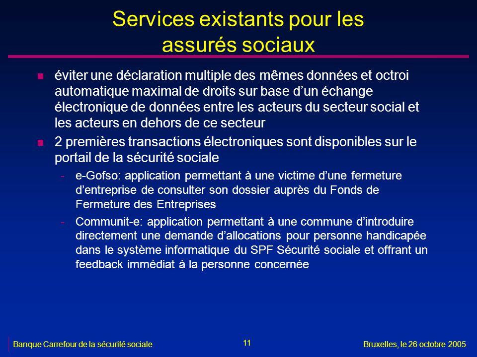 11 Banque Carrefour de la sécurité socialeBruxelles, le 26 octobre 2005 Services existants pour les assurés sociaux n éviter une déclaration multiple