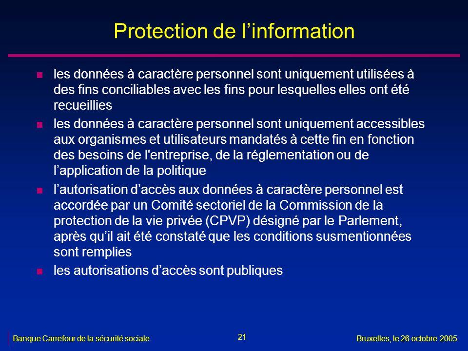 21 Banque Carrefour de la sécurité socialeBruxelles, le 26 octobre 2005 Protection de linformation n les données à caractère personnel sont uniquement