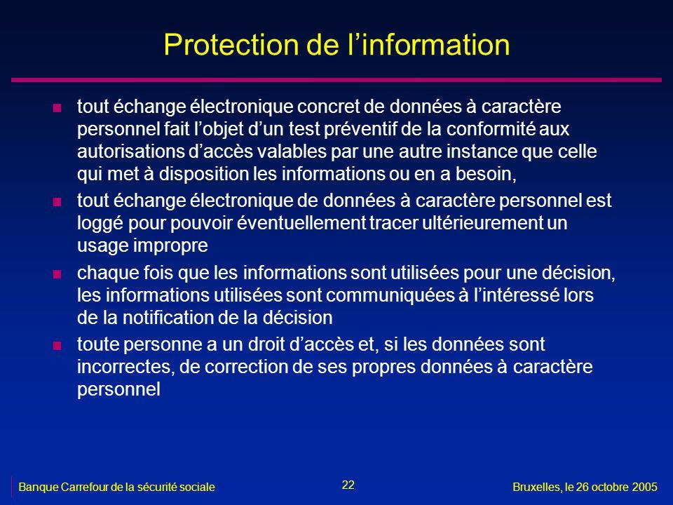 22 Banque Carrefour de la sécurité socialeBruxelles, le 26 octobre 2005 Protection de linformation n tout échange électronique concret de données à ca