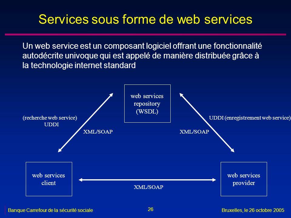 26 Banque Carrefour de la sécurité socialeBruxelles, le 26 octobre 2005 Services sous forme de web services Un web service est un composant logiciel o