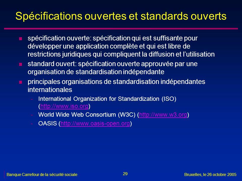 29 Banque Carrefour de la sécurité socialeBruxelles, le 26 octobre 2005 Spécifications ouvertes et standards ouverts n spécification ouverte: spécific