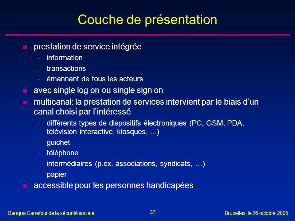 37 Banque Carrefour de la sécurité socialeBruxelles, le 26 octobre 2005 Couche de présentation n prestation de service intégrée -information -transact