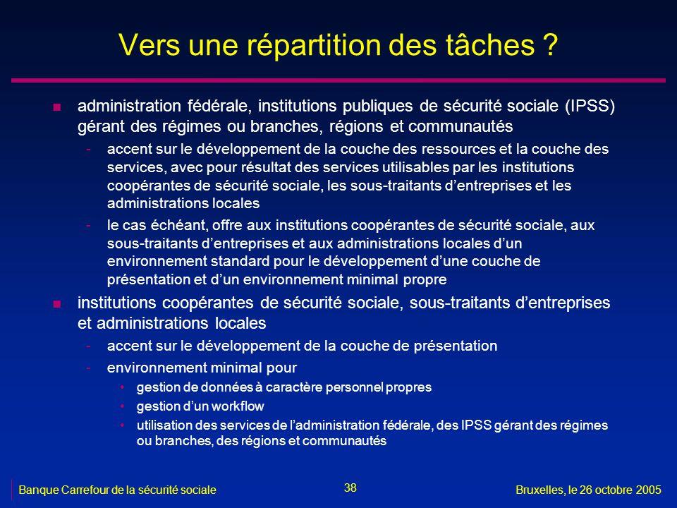 38 Banque Carrefour de la sécurité socialeBruxelles, le 26 octobre 2005 Vers une répartition des tâches .