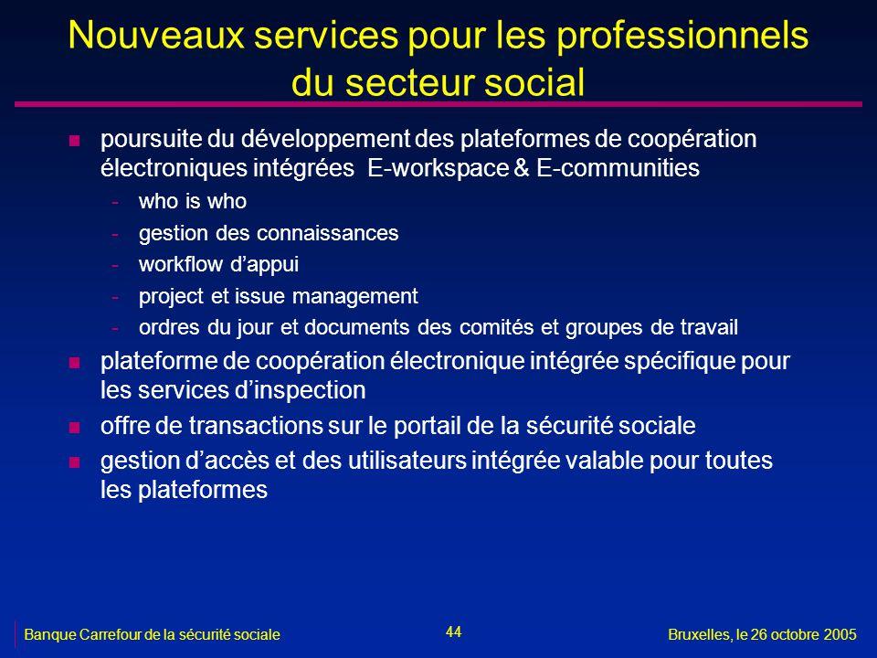 44 Banque Carrefour de la sécurité socialeBruxelles, le 26 octobre 2005 Nouveaux services pour les professionnels du secteur social n poursuite du dév