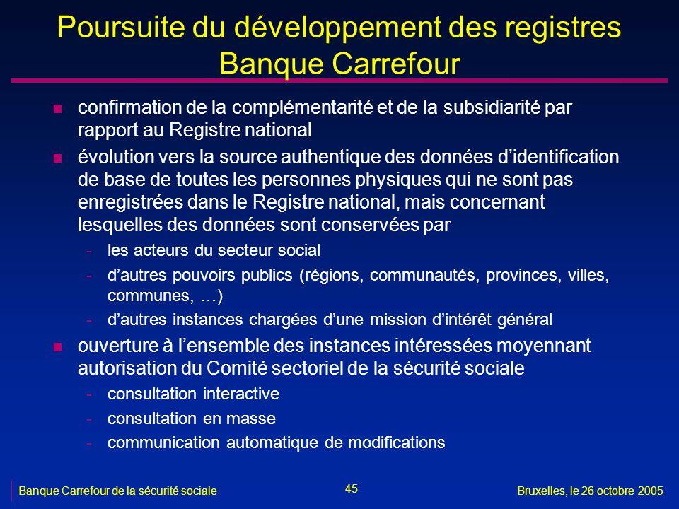 45 Banque Carrefour de la sécurité socialeBruxelles, le 26 octobre 2005 Poursuite du développement des registres Banque Carrefour n confirmation de la