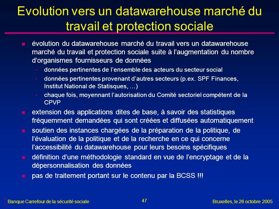 47 Banque Carrefour de la sécurité socialeBruxelles, le 26 octobre 2005 Evolution vers un datawarehouse marché du travail et protection sociale n évol