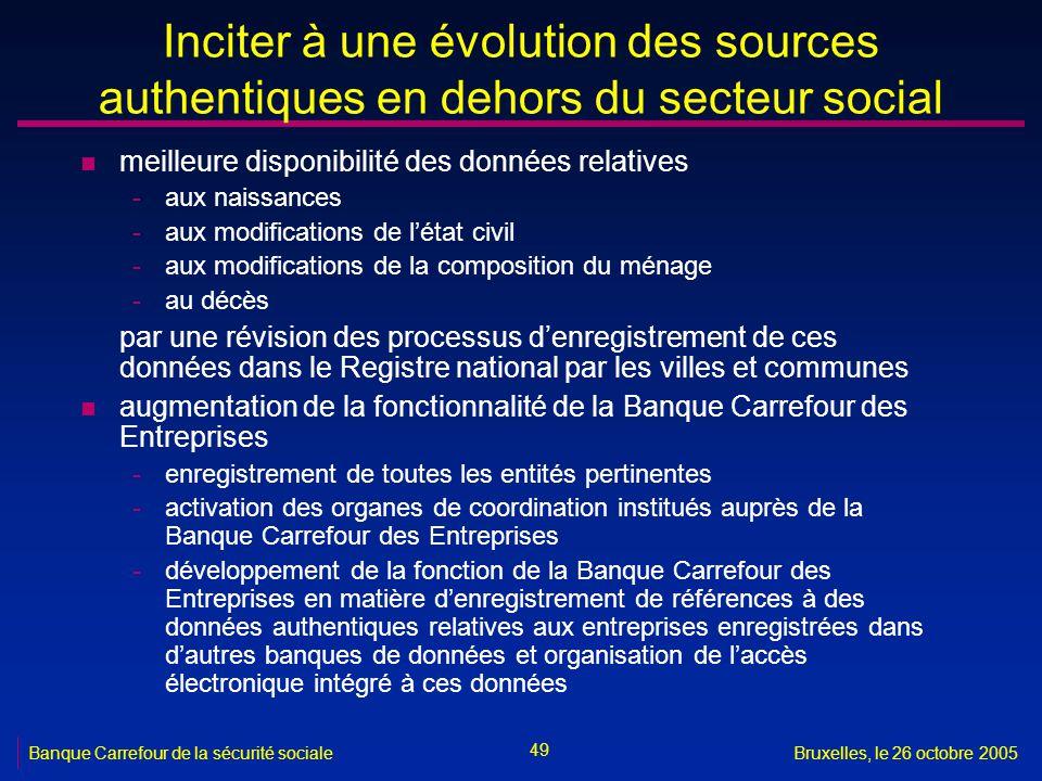 49 Banque Carrefour de la sécurité socialeBruxelles, le 26 octobre 2005 Inciter à une évolution des sources authentiques en dehors du secteur social n