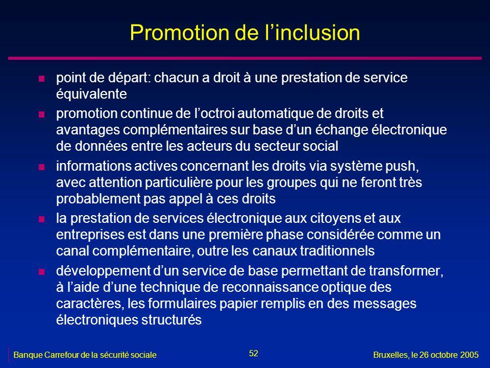 52 Banque Carrefour de la sécurité socialeBruxelles, le 26 octobre 2005 Promotion de linclusion n point de départ: chacun a droit à une prestation de