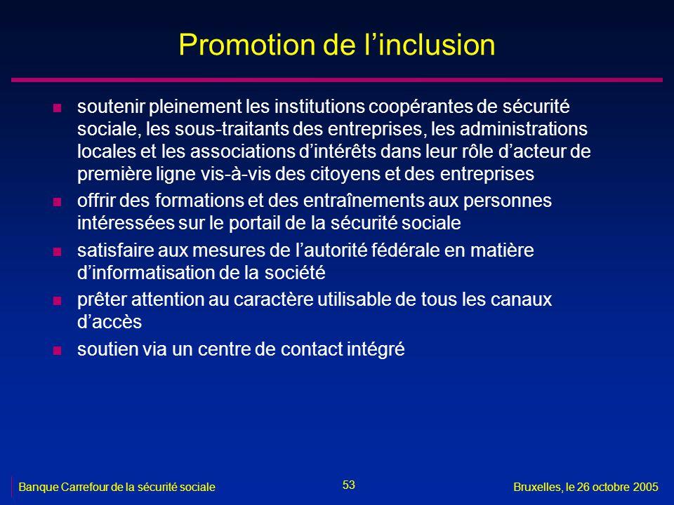53 Banque Carrefour de la sécurité socialeBruxelles, le 26 octobre 2005 Promotion de linclusion n soutenir pleinement les institutions coopérantes de