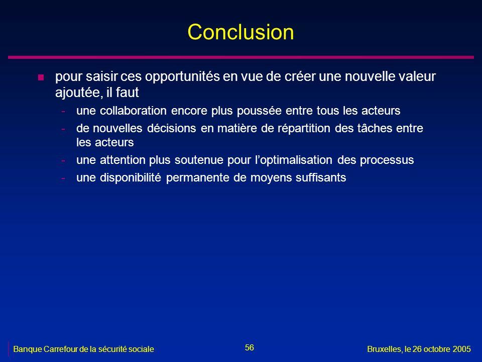 56 Banque Carrefour de la sécurité socialeBruxelles, le 26 octobre 2005 Conclusion n pour saisir ces opportunités en vue de créer une nouvelle valeur