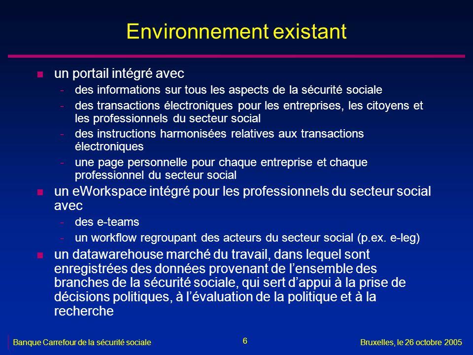 6 Banque Carrefour de la sécurité socialeBruxelles, le 26 octobre 2005 Environnement existant n un portail intégré avec -des informations sur tous les