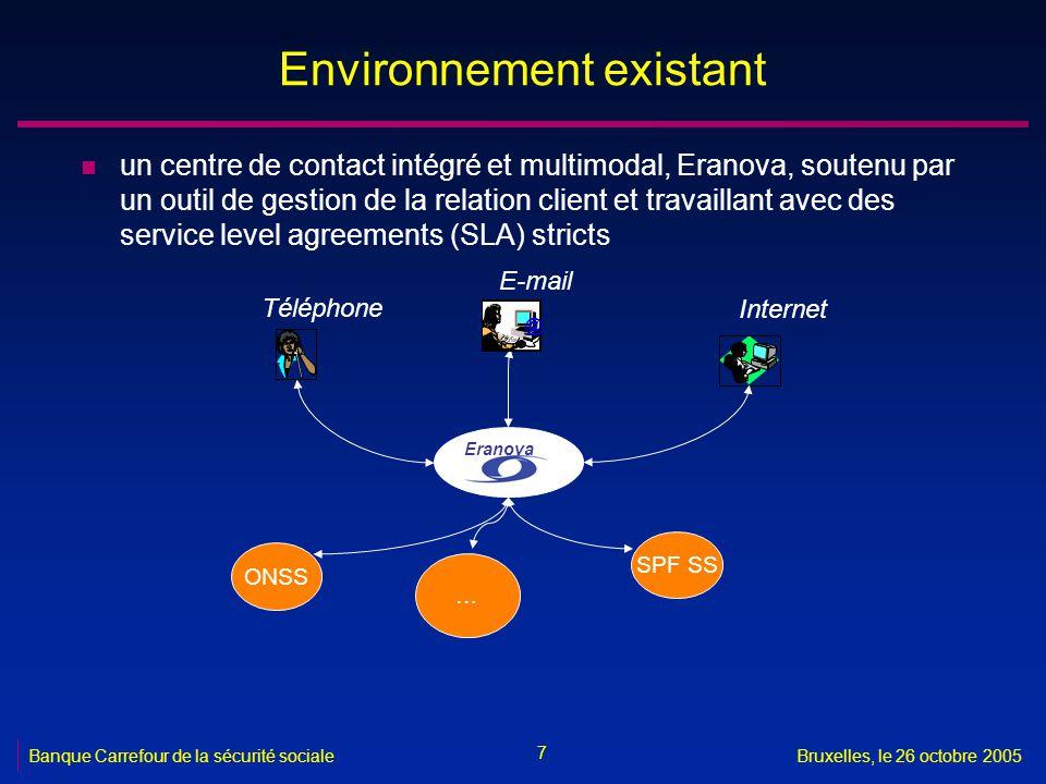 7 Banque Carrefour de la sécurité socialeBruxelles, le 26 octobre 2005 Environnement existant n un centre de contact intégré et multimodal, Eranova, soutenu par un outil de gestion de la relation client et travaillant avec des service level agreements (SLA) stricts Téléphone E-mail Internet @ Eranova SPF SS … ONSS