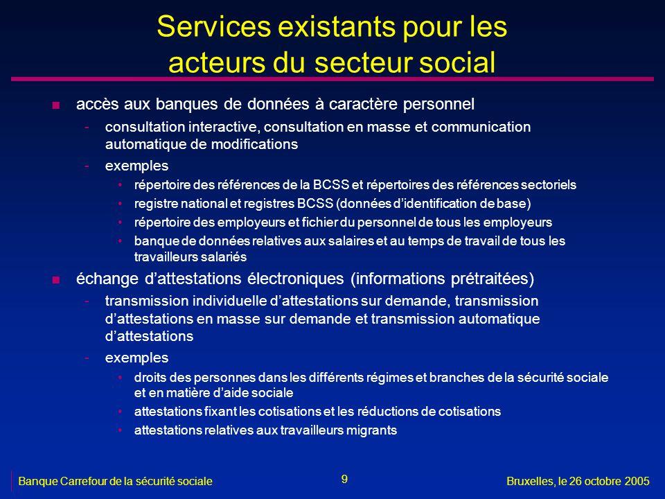 9 Banque Carrefour de la sécurité socialeBruxelles, le 26 octobre 2005 Services existants pour les acteurs du secteur social n accès aux banques de do