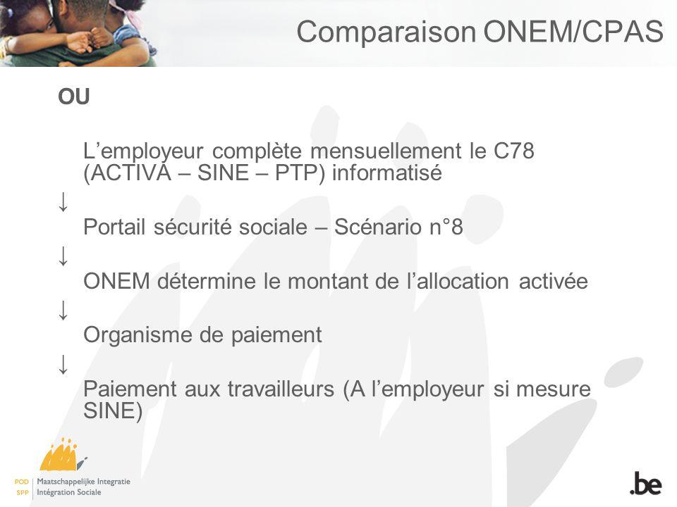 Comparaison ONEM/CPAS OU Lemployeur complète mensuellement le C78 (ACTIVA – SINE – PTP) informatisé Portail sécurité sociale – Scénario n°8 ONEM déter