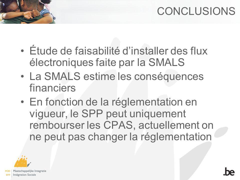 CONCLUSIONS Étude de faisabilité dinstaller des flux électroniques faite par la SMALS La SMALS estime les conséquences financiers En fonction de la ré