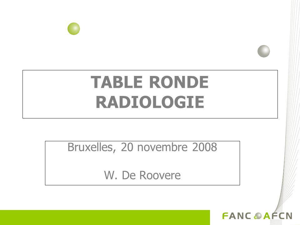 TABLE RONDE RADIOLOGIE Bruxelles, 20 novembre 2008 W. De Roovere