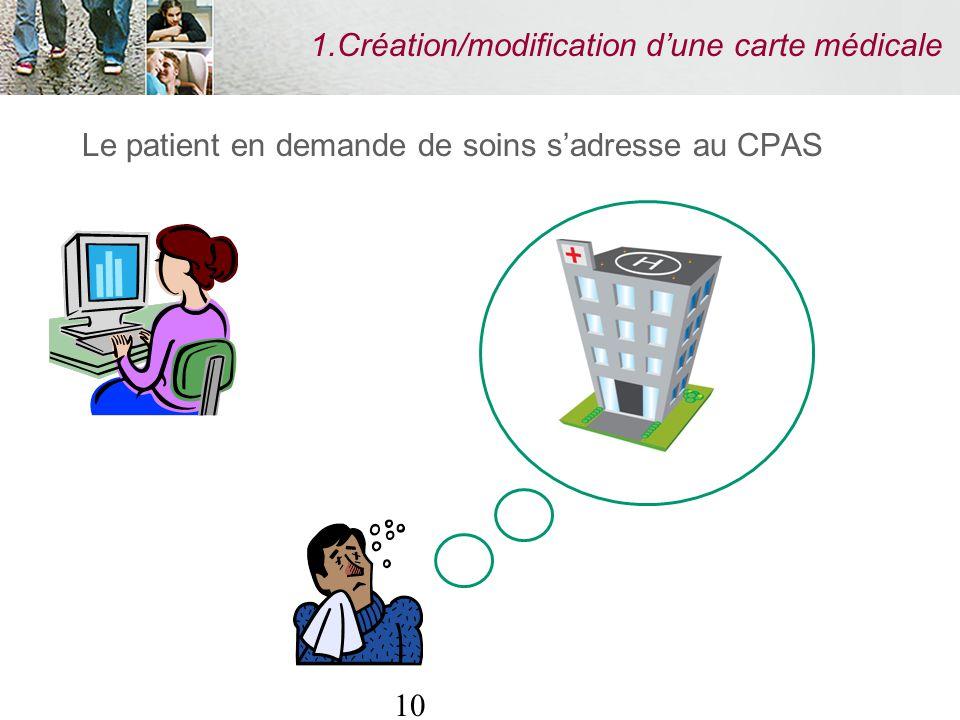 10 1.Création/modification dune carte médicale Le patient en demande de soins sadresse au CPAS