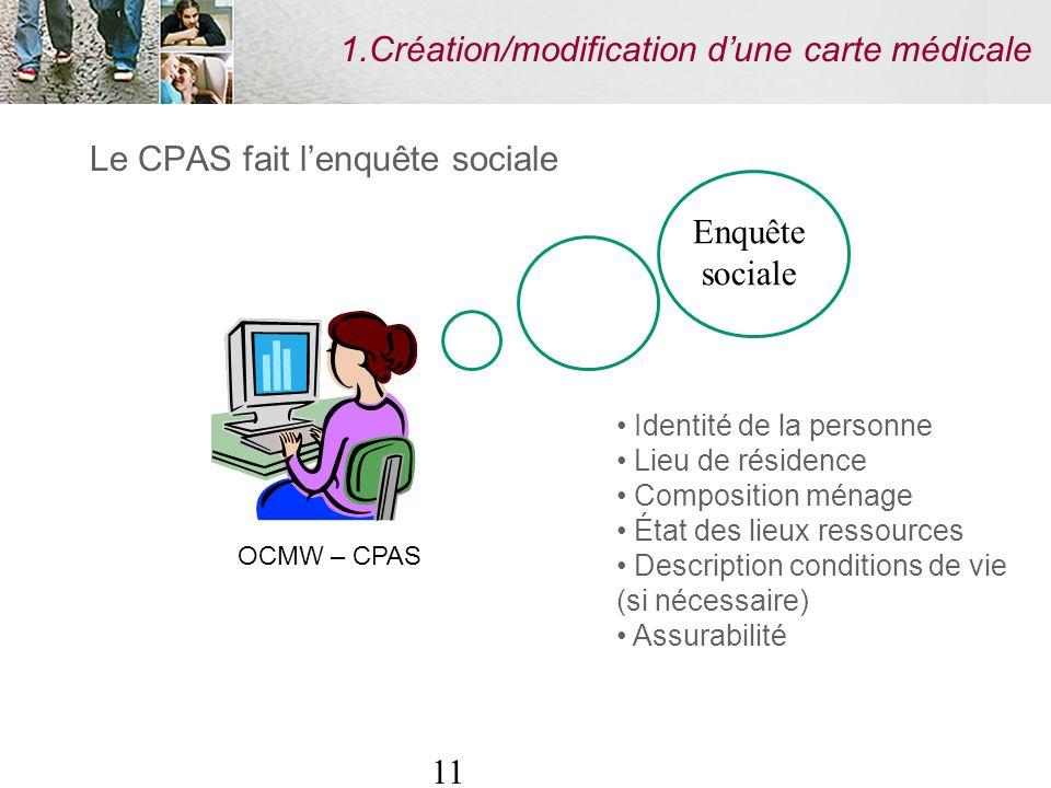 11 1.Création/modification dune carte médicale Le CPAS fait lenquête sociale Identité de la personne Lieu de résidence Composition ménage État des lie