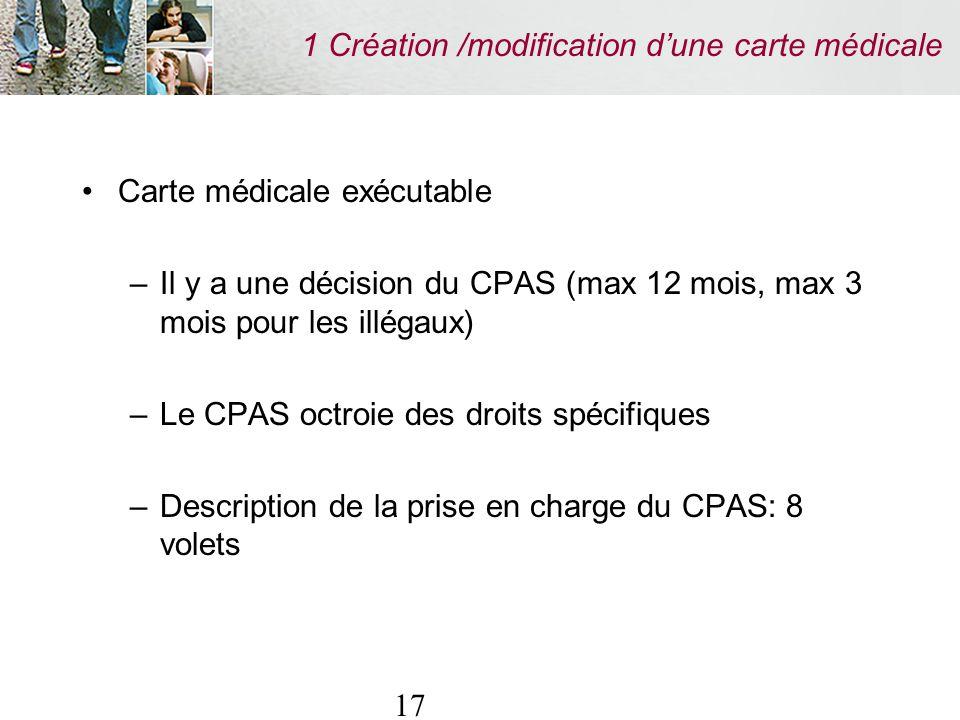 17 1 Création /modification dune carte médicale Carte médicale exécutable –Il y a une décision du CPAS (max 12 mois, max 3 mois pour les illégaux) –Le