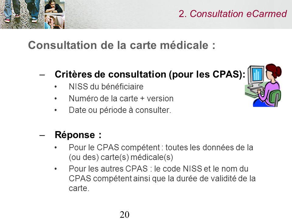 20 2. Consultation eCarmed Consultation de la carte médicale : –Critères de consultation (pour les CPAS): NISS du bénéficiaire Numéro de la carte + ve