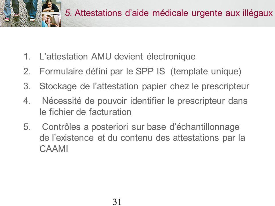 31 5. Attestations daide médicale urgente aux illégaux 1.Lattestation AMU devient électronique 2.Formulaire défini par le SPP IS (template unique) 3.S