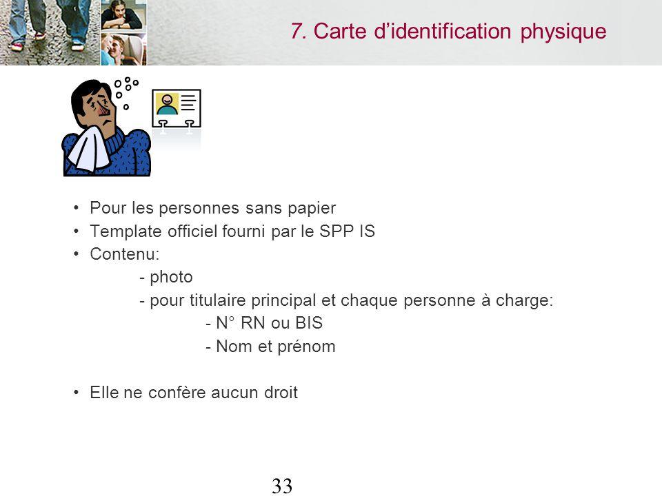 33 Pour les personnes sans papier Template officiel fourni par le SPP IS Contenu: - photo - pour titulaire principal et chaque personne à charge: - N° RN ou BIS - Nom et prénom Elle ne confère aucun droit 7.