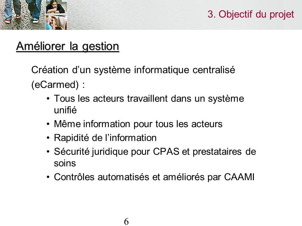 6 3. Objectif du projet Améliorer la gestion Création dun système informatique centralisé (eCarmed) : Tous les acteurs travaillent dans un système uni