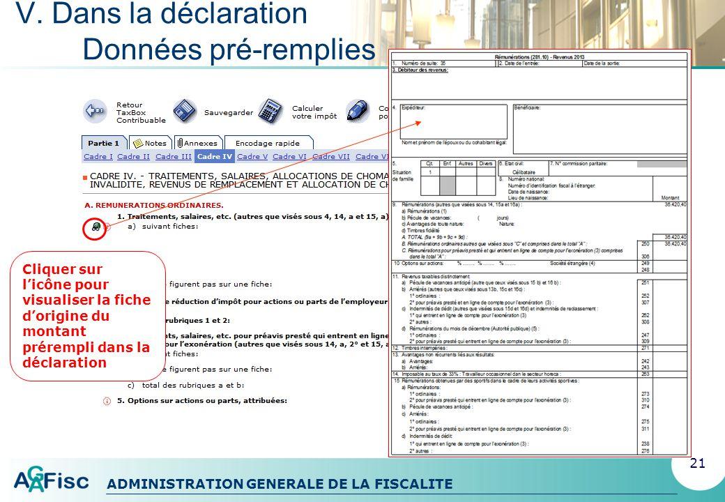 ADMINISTRATION GENERALE DE LA FISCALITE V. Dans la déclaration Liste des erreurs 22