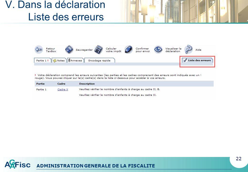 ADMINISTRATION GENERALE DE LA FISCALITE V. Dans la déclaration Messages derreur 23