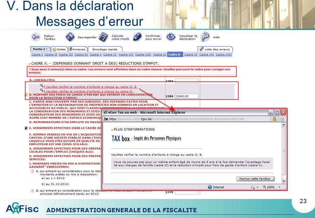 ADMINISTRATION GENERALE DE LA FISCALITE V. Dans la déclaration Aides au remplissage 24