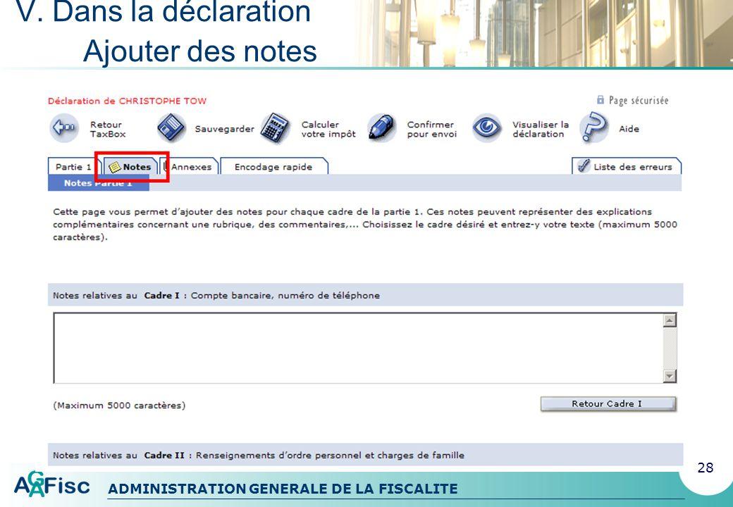ADMINISTRATION GENERALE DE LA FISCALITE V. Dans la déclaration Ajouter des annexes 29