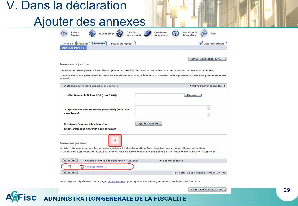 ADMINISTRATION GENERALE DE LA FISCALITE V. Dans la déclaration Encodage rapide 30