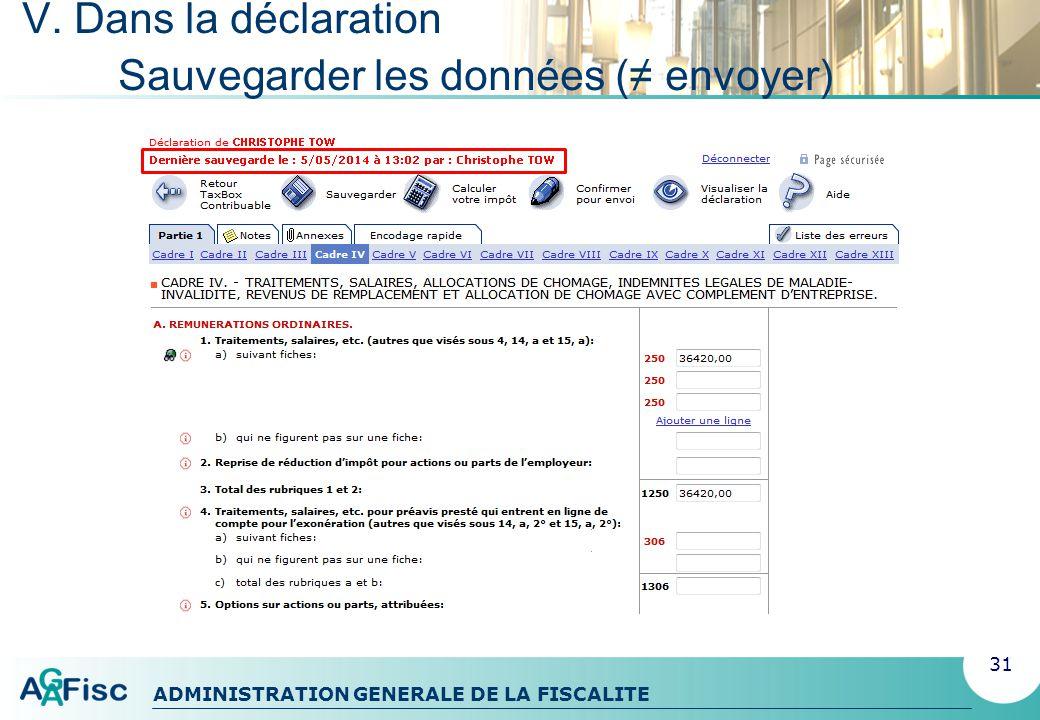 ADMINISTRATION GENERALE DE LA FISCALITE V.