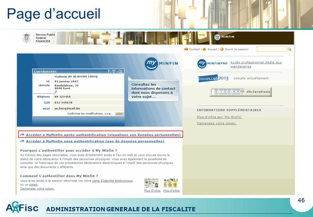 ADMINISTRATION GENERALE DE LA FISCALITE Rubrique 1 : Données et documents Données personnelles 47
