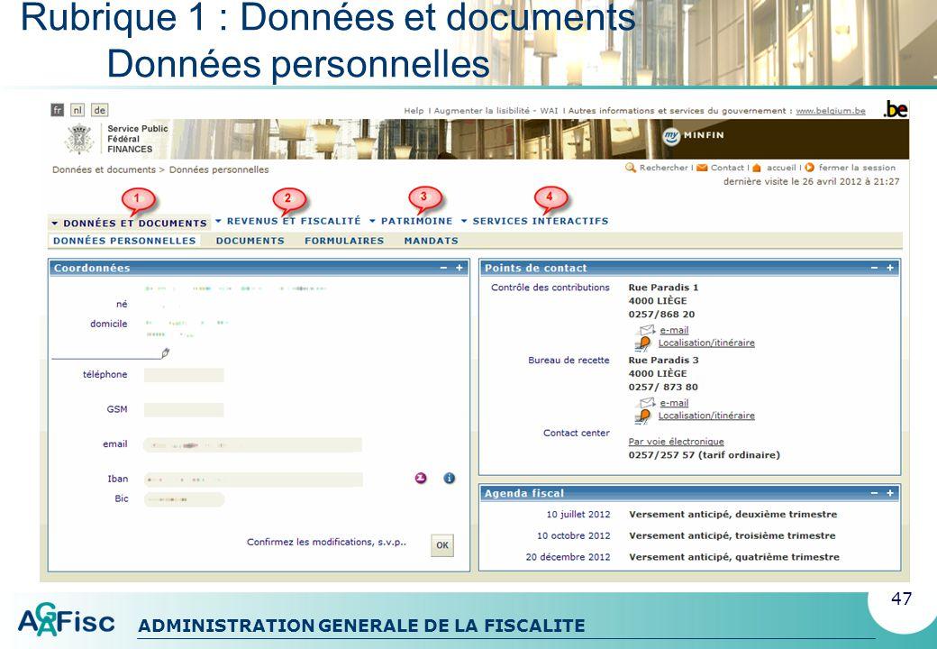 ADMINISTRATION GENERALE DE LA FISCALITE Rubrique 1 : Données et documents Documents et formulaires 48