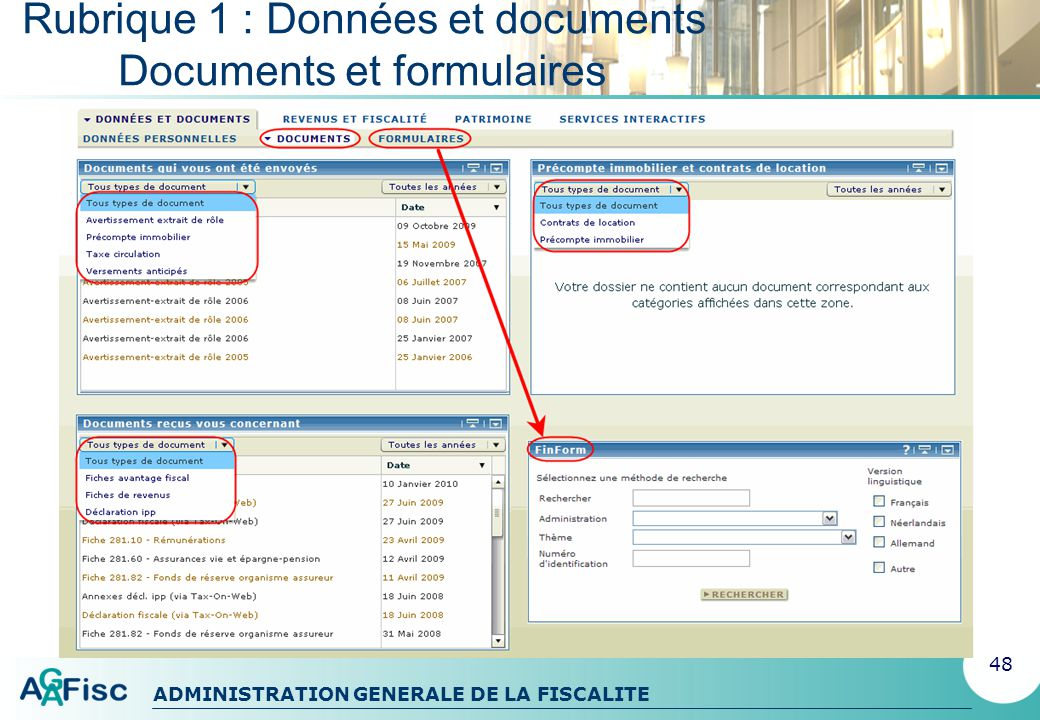 ADMINISTRATION GENERALE DE LA FISCALITE Rubrique 2 : Revenus et fiscalité 49