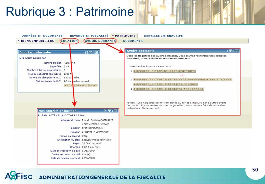 ADMINISTRATION GENERALE DE LA FISCALITE Rubrique 4 : Services interactifs 51