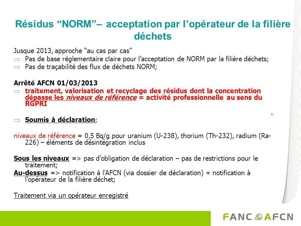 Résidus NORM– acceptation par lopérateur de la filière déchets Jusque 2013, approche au cas par cas Pas de base réglementaire claire pour lacceptation