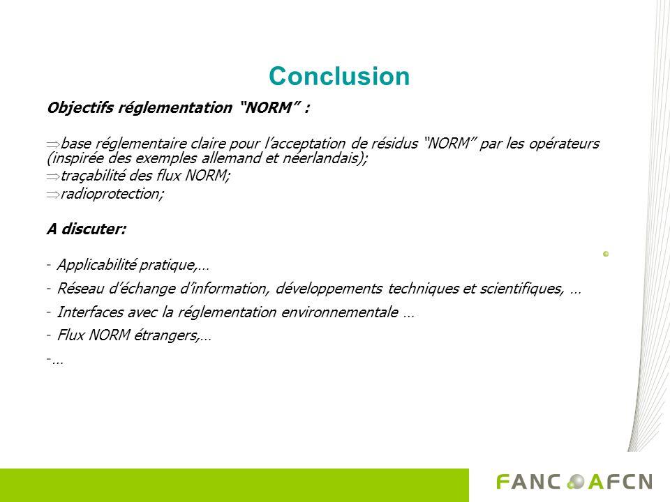 Conclusion Objectifs réglementation NORM : base réglementaire claire pour lacceptation de résidus NORM par les opérateurs (inspirée des exemples allem