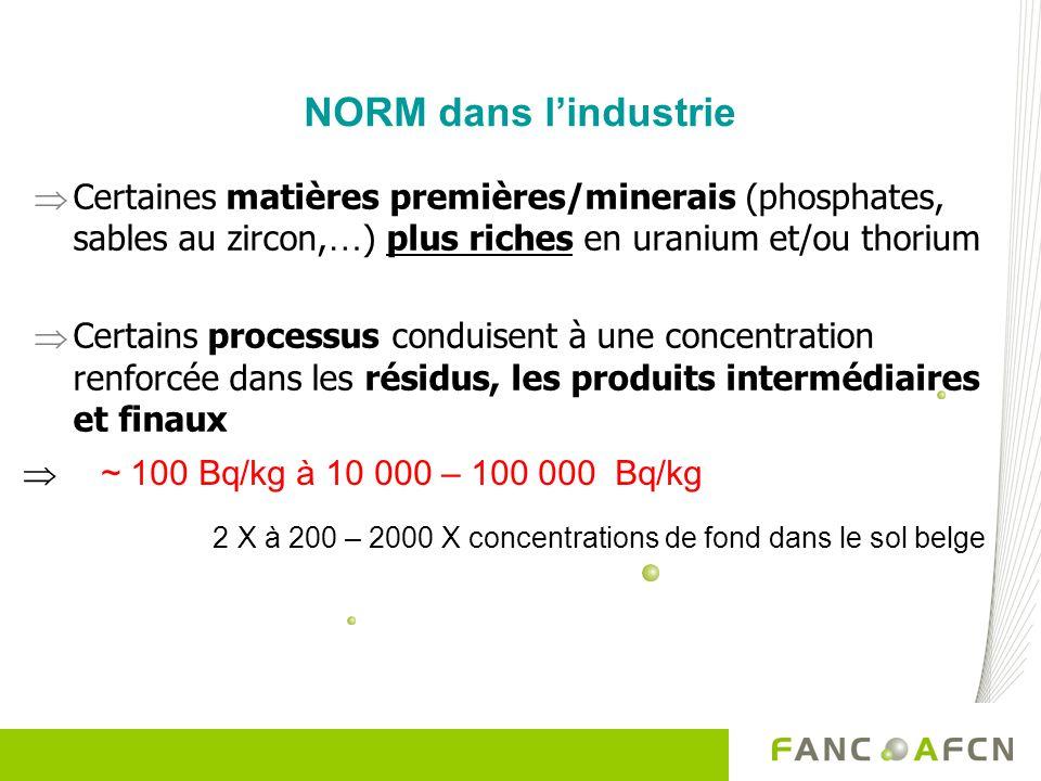 NORM dans lindustrie Certaines matières premières/minerais (phosphates, sables au zircon, … ) plus riches en uranium et/ou thorium Certains processus