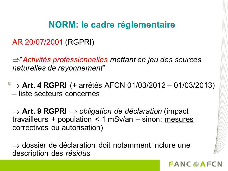 NORM: le cadre réglementaire AR 20/07/2001 (RGPRI) Activités professionnelles mettant en jeu des sources naturelles de rayonnement Art. 4 RGPRI (+ arr