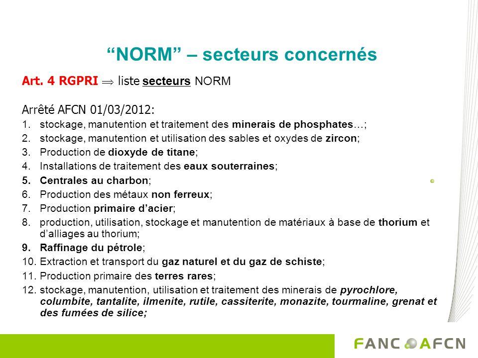 NORM – secteurs concernés Art. 4 RGPRI liste secteurs NORM Arrêté AFCN 01/03/2012: 1.stockage, manutention et traitement des minerais de phosphates…;