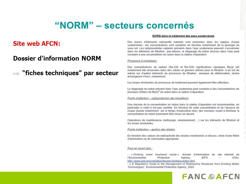 NORM – secteurs concernés Site web AFCN: Dossier dinformation NORM fiches techniques par secteur