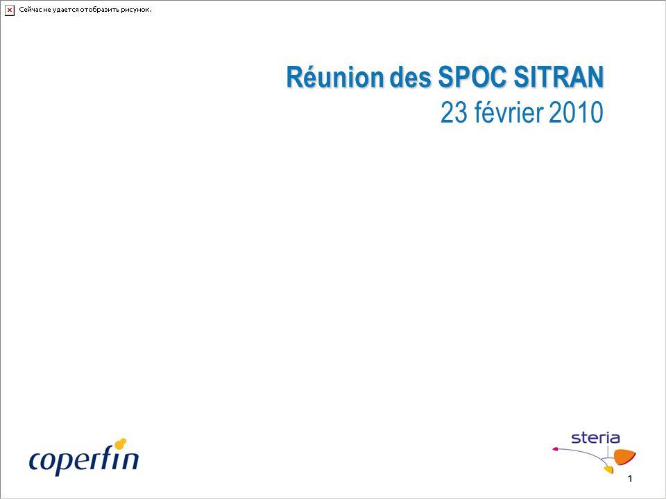 1 Réunion des SPOC SITRAN Réunion des SPOC SITRAN 23 février 2010