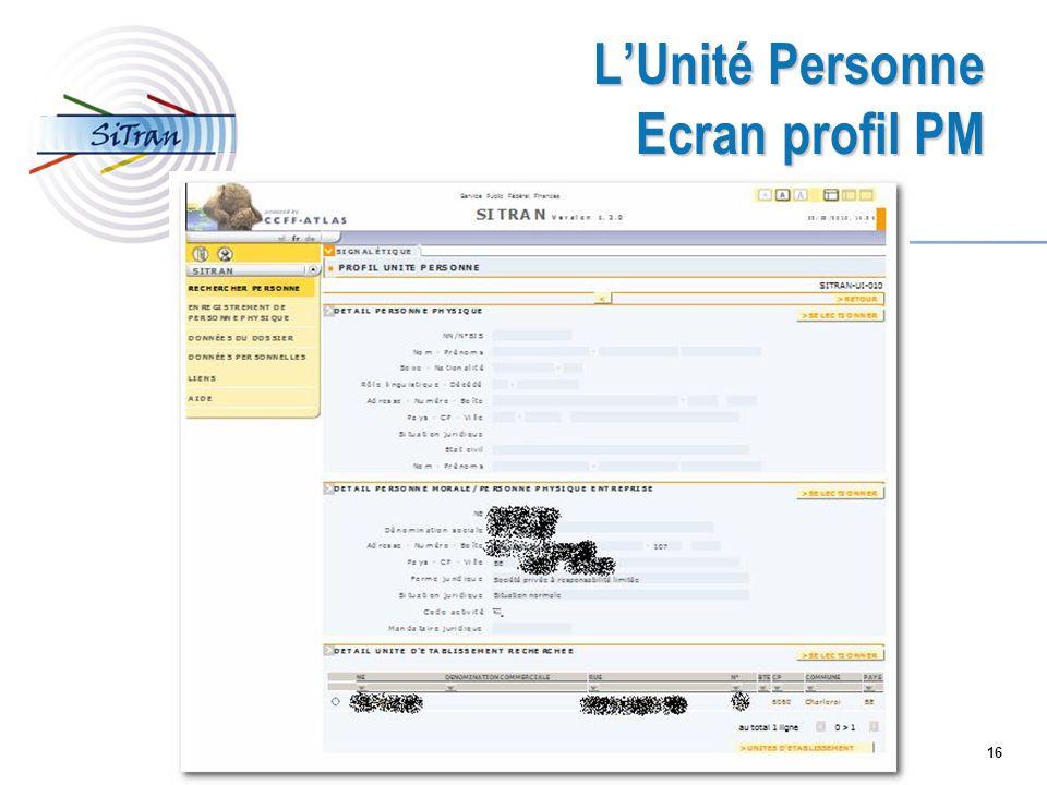 16 LUnité Personne Ecran profil PM