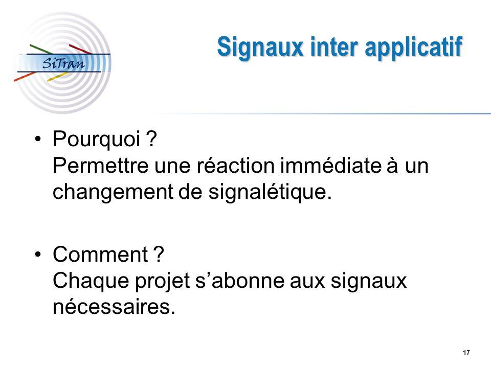 17 Signaux inter applicatif Pourquoi ? Permettre une réaction immédiate à un changement de signalétique. Comment ? Chaque projet sabonne aux signaux n
