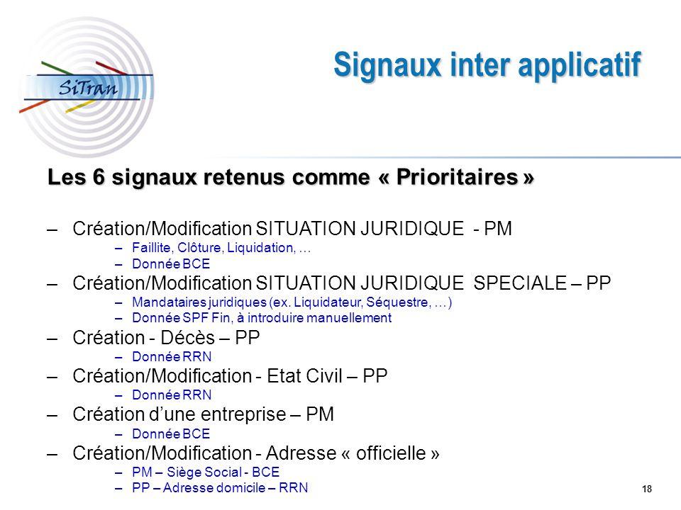 18 Signaux inter applicatif Les 6 signaux retenus comme « Prioritaires » –Création/Modification SITUATION JURIDIQUE - PM –Faillite, Clôture, Liquidati