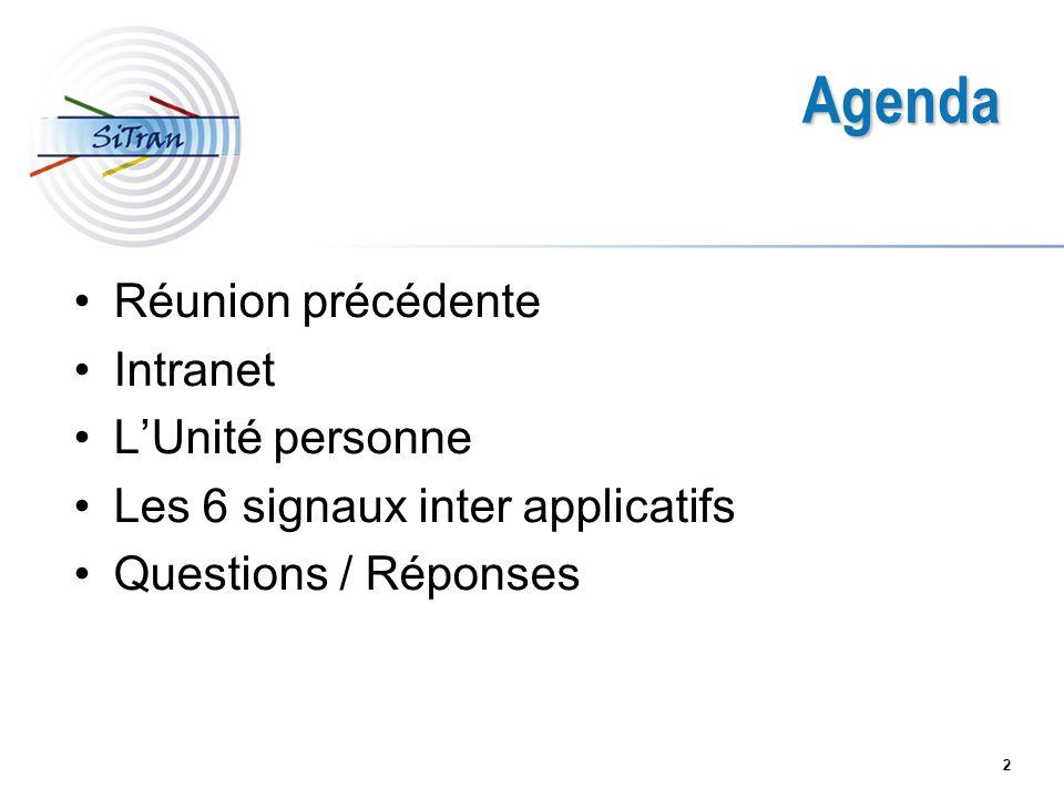 2 Agenda Réunion précédente Intranet LUnité personne Les 6 signaux inter applicatifs Questions / Réponses