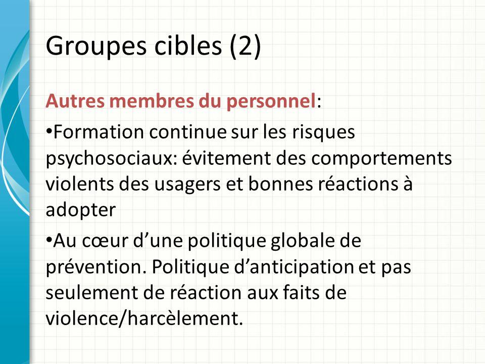Groupes cibles (2) Autres membres du personnel: Formation continue sur les risques psychosociaux: évitement des comportements violents des usagers et bonnes réactions à adopter Au cœur dune politique globale de prévention.